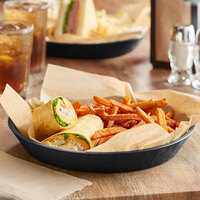 Choice 10 1/2 inch Round Black Plastic Diner Food Basket - 12/Pack