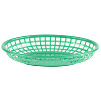 Choice 9 1/4 inch x 5 3/4 inch x 1 1/2 inch Green Oval Plastic Fast Food Basket - 12/Pack