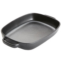 American Metalcraft PBB135 104 oz. Black Matte Porcelain Rectangular Casserole Dish with Handles