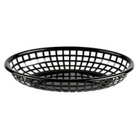 Choice 9 1/4 inch x 5 3/4 inch x 1 1/2 inch Black Oval Plastic Fast Food Basket - 12/Pack