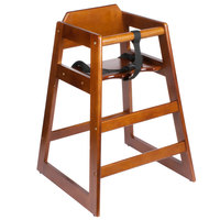 Lancaster Table & Seating Assembled Stacking Restaurant Wood High Chair with Walnut Finish