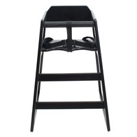 Lancaster Table & Seating Assembled Stacking Restaurant Wood High Chair with Black Finish