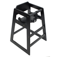 Lancaster Table &amp&#x3b; Seating Assembled Stacking Restaurant Wood High Chair with Black Finish