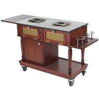 Bon Chef 50010 Traditional 35 1/2 inch x 19 1/2 inch x 32 inch Mahogany Flambe Trolley