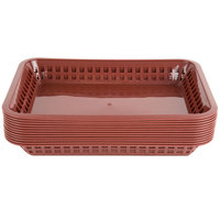 Choice 12 inch x 8 1/2 inch x 1 1/2 inch Brown Rectangular Plastic Fast Food Basket - 12/Pack