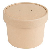 EcoChoice 12 oz. Kraft Compostable Paper Soup / Hot Food Cup with Vented Lid   - 250/Case