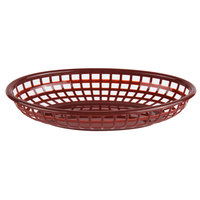 Choice 9 1/4 inch x 5 3/4 inch x 1 1/2 inch Brown Oval Plastic Fast Food Basket - 12/Pack