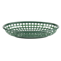 Choice 9 1/4 inch x 5 3/4 inch x 1 1/2 inch Forest Green Oval Plastic Fast Food Basket - 12/Pack