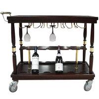 Bon Chef 50071 39 inch x 20 inch x 33 1/2 inch Hardwood Mahogany Wine Serving Cart