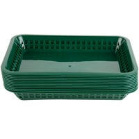 Choice 12 inch x 8 1/2 inch x 1 1/2 inch Forest Green Rectangular Plastic Fast Food Basket - 12/Pack