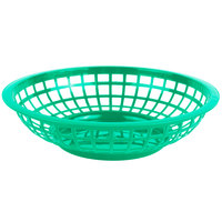 Choice 8 inch x 2 inch Round Green Plastic Fast Food Basket - 12/Pack