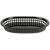 Choice 11 inch x 7 inch x 1 1/2 inch Black Oval Plastic Fast Food Basket   - 12/Pack