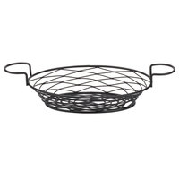 American Metalcraft BNBB821 Oval Birdnest Black Metal Basket with 2 Ramekin Holders - 11 inch x 8 inch x 3 1/4 inch