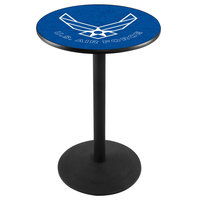 Holland Bar Stool L214B3628AirFor 28 inch Round United States Air Force Pub Table with Black Round Base