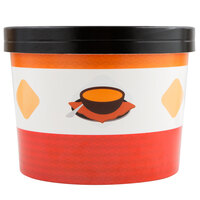 Choice 64 oz. Soup Design Double Poly-Coated Paper Soup / Hot Food Cup with Paper Lid - 25/Pack