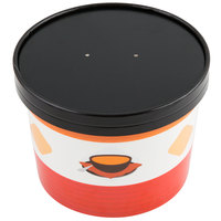 Choice 64 oz. Soup Design Double Poly-Coated Paper Soup / Hot Food Cup with Vented Paper Lid - 25/Pack