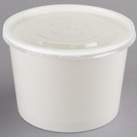 Choice 12 oz. White Double Poly-Coated Paper Food Cup with Vented Plastic Lid - 25/Pack