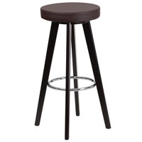Flash Furniture CH-152601-BRN-VY-GG Trenton Series Cappuccino Wood Bar Height Stool with Brown Vinyl Seat