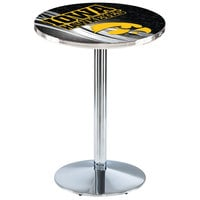 Holland Bar Stool L214C3628IowaUn-D2 28 inch Round University of Iowa Pub Table with Chrome Round Base