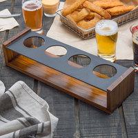 Acopa 13 inch x 4 inch Walnut Finish 4- Well Drop-In Flight / Sampler Paddle - 12/Case