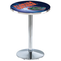 Holland Bar Stool L214C3628FlorUn-D2 28 inch Round University of Florida Pub Table with Chrome Round Base