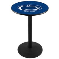 Holland Bar Stool L214B36PennSt 28 inch Round Penn State University Pub Table with Black Round Base