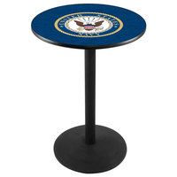 Holland Bar Stool L214B3628Navy 28 inch Round United States Navy Pub Table with Black Round Base