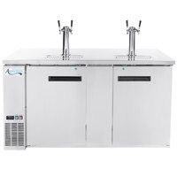 Avantco UDD-3-HC-S Stainless Steel Kegerator / Beer Dispenser with 2 Double Tap Towers - (3) 1/2 Keg Capacity