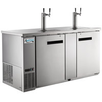 Avantco UDD-3-HC-S Stainless Steel Kegerator / Beer Dispenser with (2) 2 Tap Towers - (3) 1/2 Keg Capacity