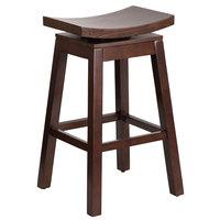 Flash Furniture TA-SADDLE-1-GG Cappuccino Wood Bar Height Stool with Auto Swivel Seat