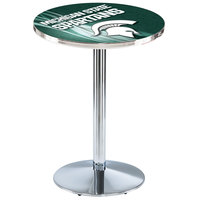 Holland Bar Stool L214C3628MichSt-D2 28 inch Round Michigan State University Pub Table with Chrome Round Base