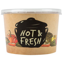Choice 12 oz. Medley Double Poly-Coated Paper Soup / Hot Food Cup with Vented Plastic Lid - 25/Pack