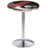 Holland Bar Stool L214C3628GA-G-D2 28 inch Round University of Georgia Pub Table with Chrome Round Base