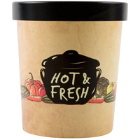 Choice 32 oz. Medley Double Poly-Coated Paper Soup / Hot Food Cup with Vented Paper Lid - 25/Pack