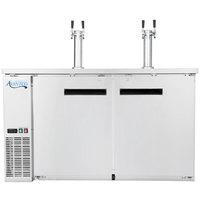 Avantco UDD-2-HC-S Stainless Steel Kegerator / Beer Dispenser with Triple Tap Tower - (2) 1/2 Keg Capacity