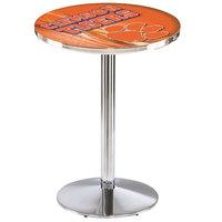 Holland Bar Stool L214C3628Clmson-D2 28 inch Round Clemson university Pub Table with Chrome Round Base