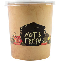 Choice 32 oz. Medley Double Poly-Coated Paper Soup / Hot Food Cup with Plastic Lid - 25/Pack
