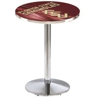 Holland Bar Stool L214C3628FSU-FS-D2 28 inch Round Florida State University Pub Table with Chrome Round Base