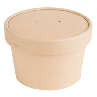EcoChoice 8 oz. Kraft Compostable Paper Soup / Hot Food Cup with Vented Lid - 25/Pack