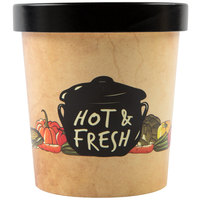 Choice 16 oz. Medley Double Poly-Coated Paper Soup / Hot Food Cup with Vented Paper Lid - 25/Pack