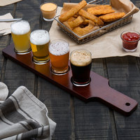 Acopa 18 inch x 4 inch Four-Hole Red-Brown Finish Wood Drop-In Beer Flight Sampler Paddle - 12/Case
