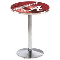 Holland Bar Stool L214C3628AL-A-D2 28 inch Round University of Alabama Pub Table with Chrome Round Base