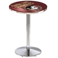 Holland Bar Stool L214C3628FSU-HD-D2 28 inch Round Florida State University Pub Table with Chrome Round Base