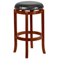 Flash Furniture TA-68929-LC-GG Light Cherry Bar Height Stool with Black Leather Swivel Seat