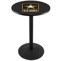 Holland Bar Stool L214B3628Army 28 inch Round United States Army Pub Table with Black Round Base