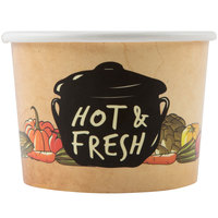 Choice 12 oz. Medley Double Poly-Coated Paper Soup / Hot Food Cup - 50/Pack