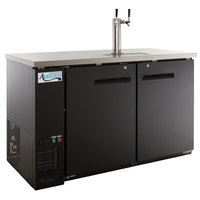 Avantco UDD-2-HC Black Kegerator / Beer Dispenser with (1) 2 Tap Tower - (2) 1/2 Keg Capacity