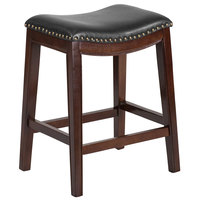 Flash Furniture TA-411026-CA-GG Cappuccino Wood Counter Height Stool with Black Leather Saddle Seat