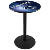 Holland Bar Stool L214B3628PennSt-D2 28 inch Round Penn State University Pub Table with Black Round Base