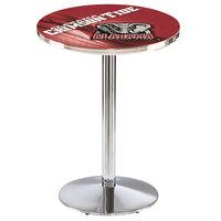 Holland Bar Stool L214C3628AL-Ele-D2 28 inch Round University of Alabama Pub Table with Chrome Round Base